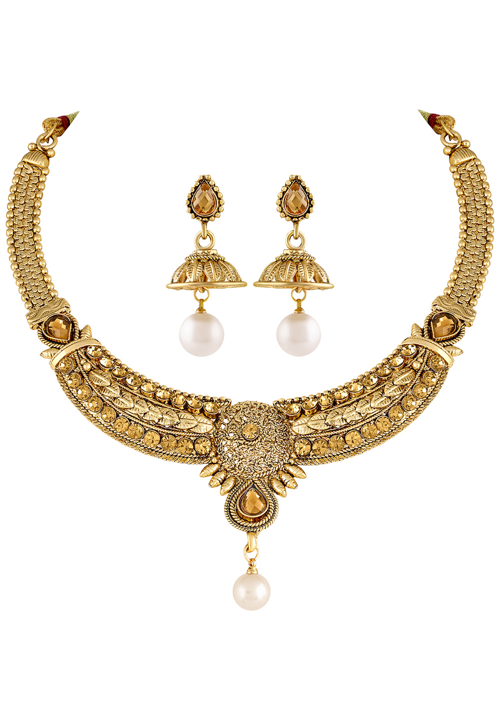 Golden Zinc Necklace Set With Earrings 191853