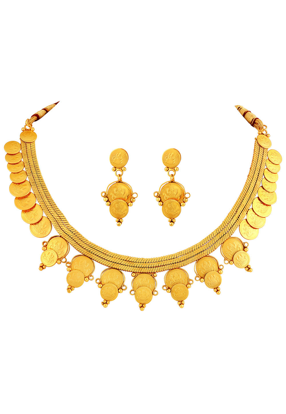 Golden Copper Necklace Set With Earrings 191855