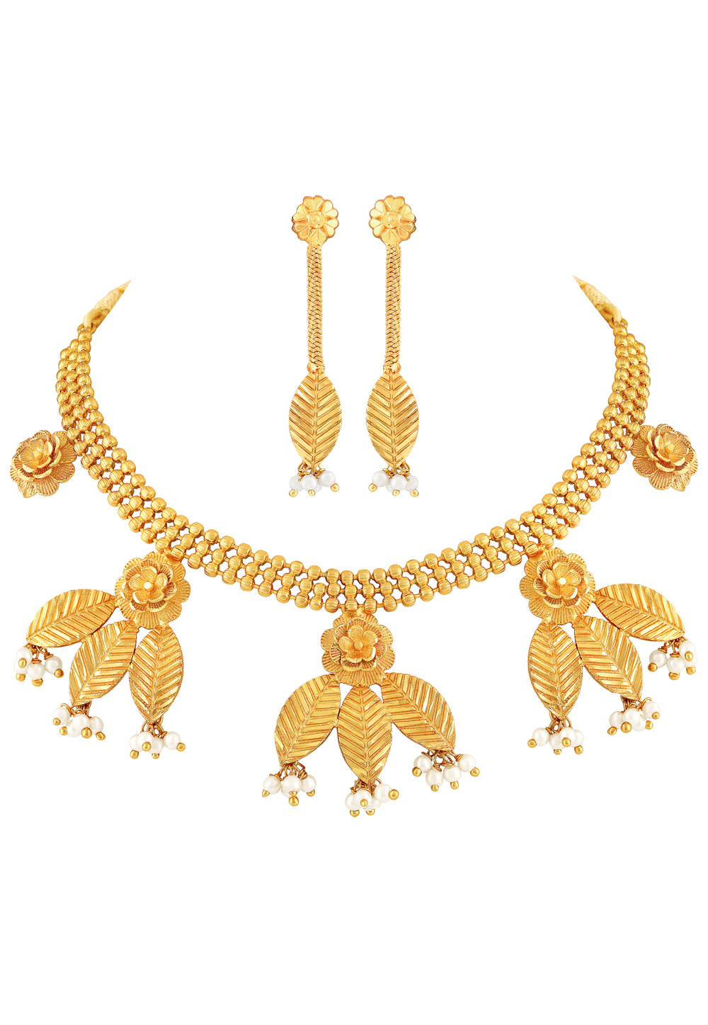 Golden Brass Necklace Set With Earrings 191857