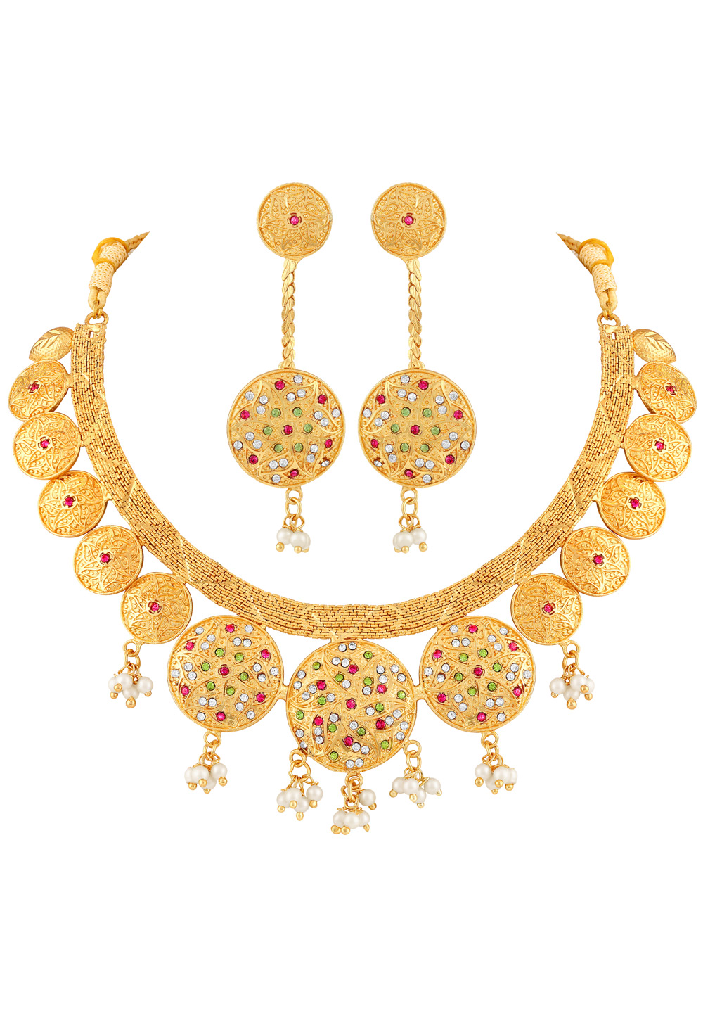 Golden Brass Necklace Set With Earrings 191858