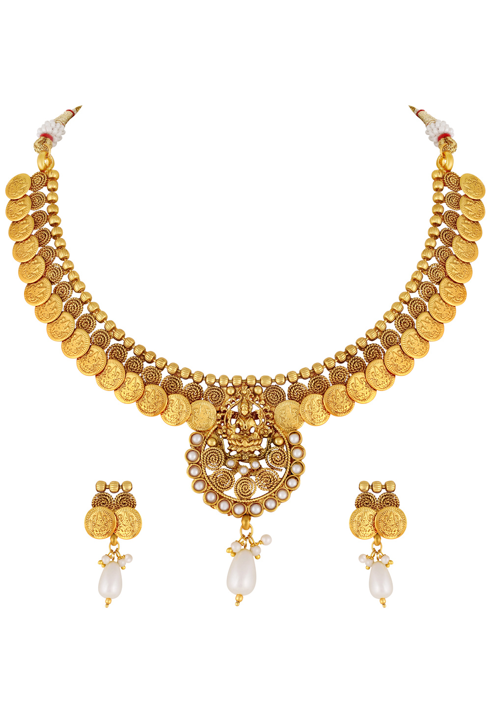 Golden Copper Necklace Set With Earrings 191865