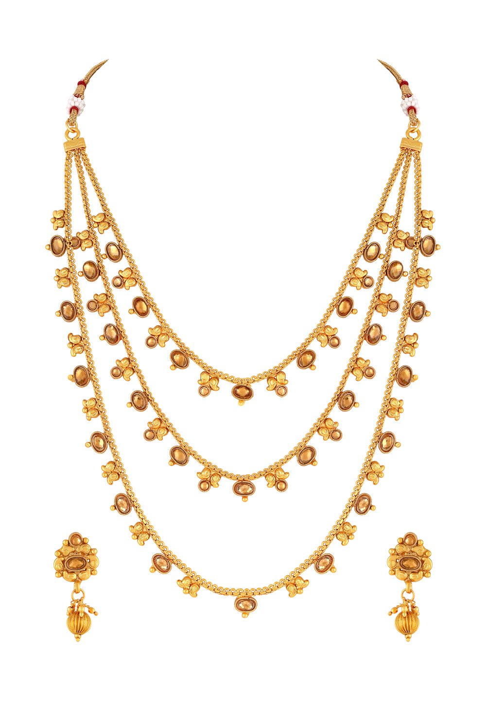 Golden Copper Necklace Set With Earrings 191866