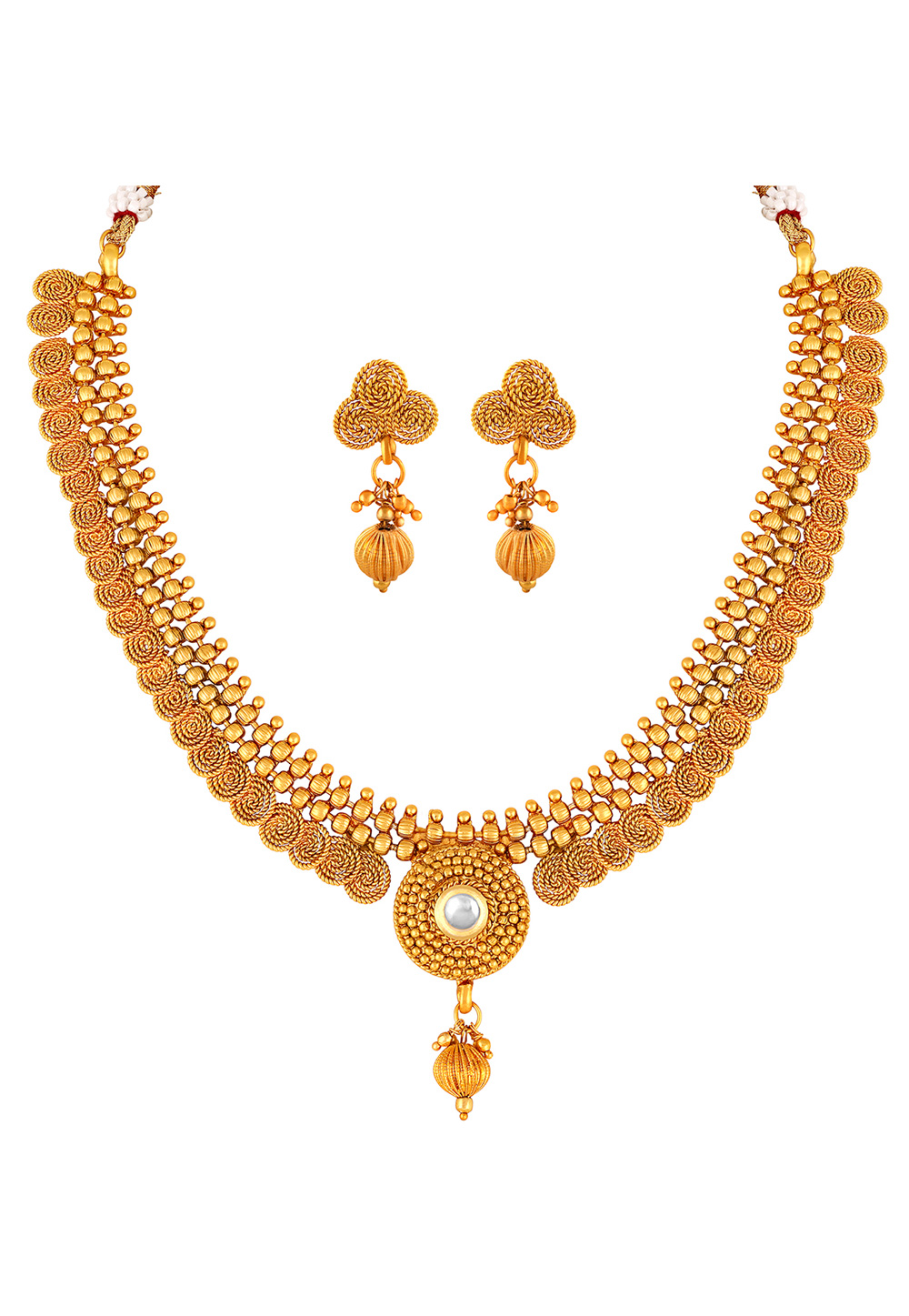 Golden Copper Necklace Set With Earrings 191867