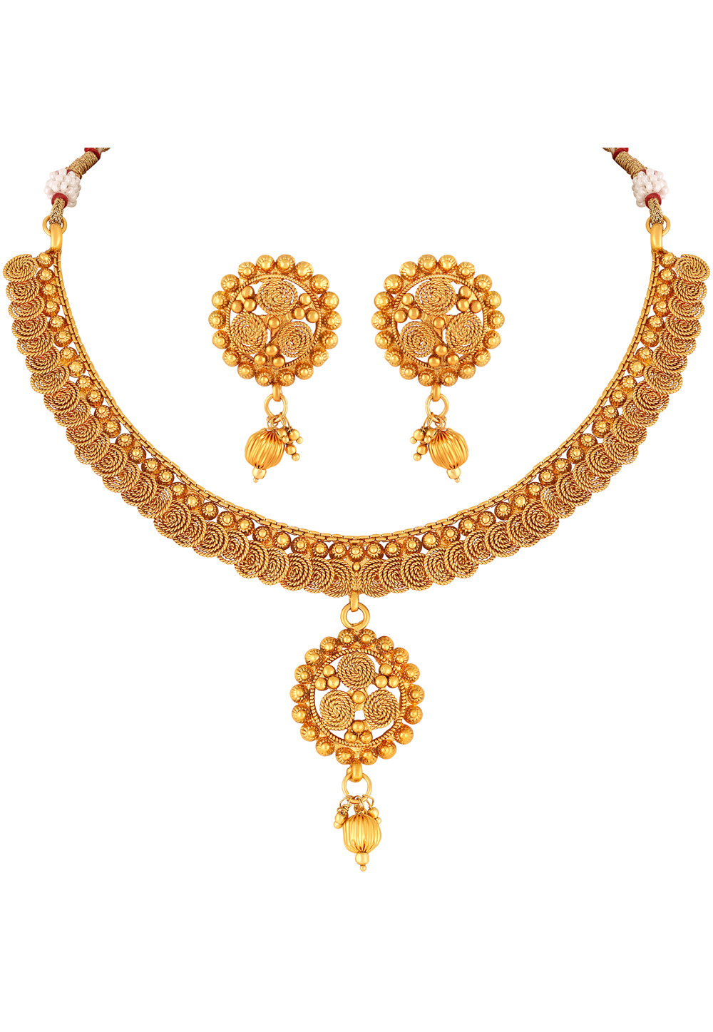 Golden Copper Necklace Set With Earrings 191869
