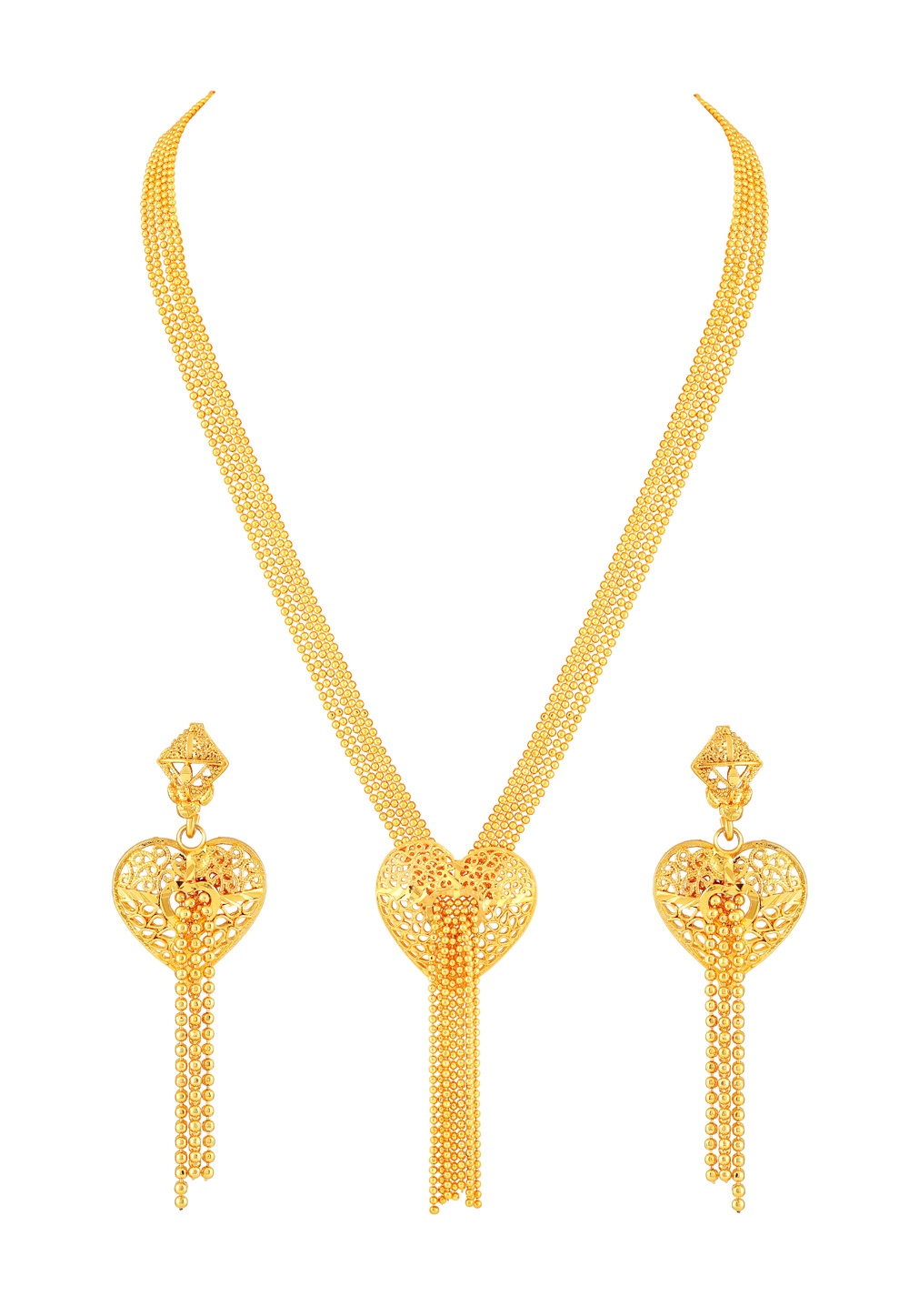 Golden Brass Necklace Set With Earrings 191870