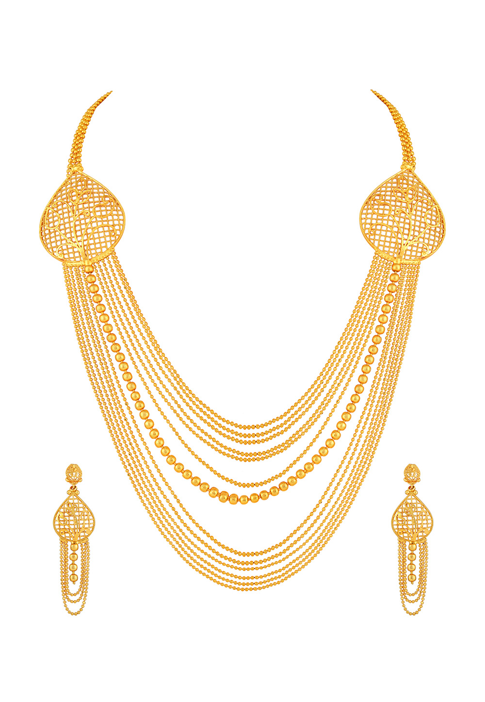 Golden Brass Necklace Set With Earrings 191871