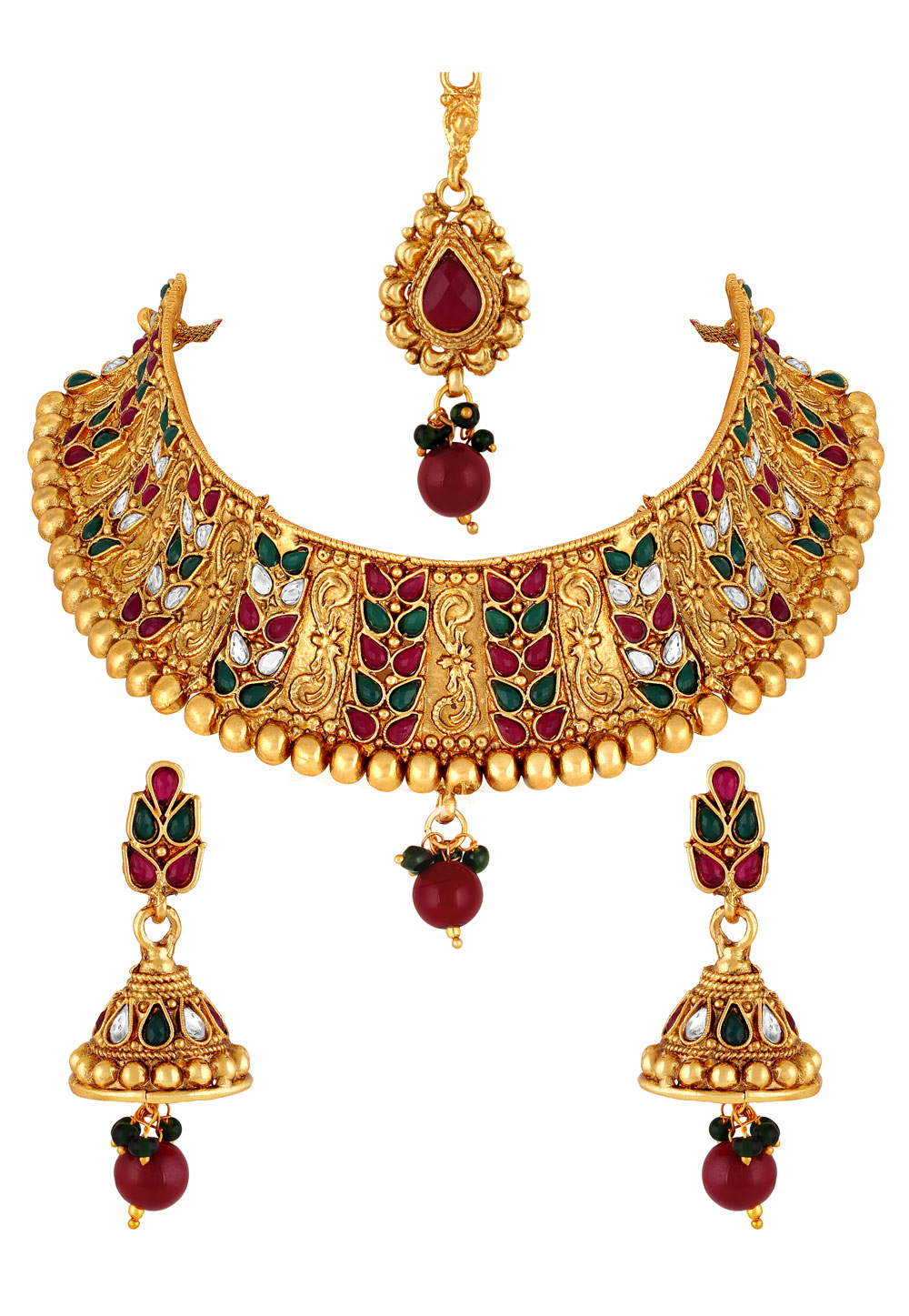 Maroon Zinc Necklace Set With Earrings and Maang Tikka 191876