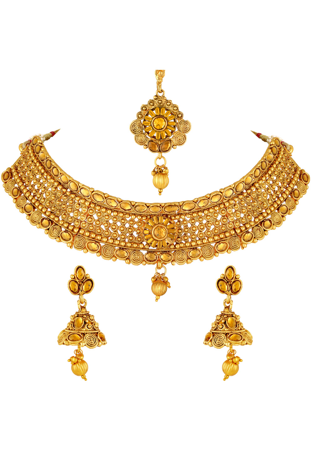 Golden Zinc Necklace Set With Earrings and Maang Tikka 191878