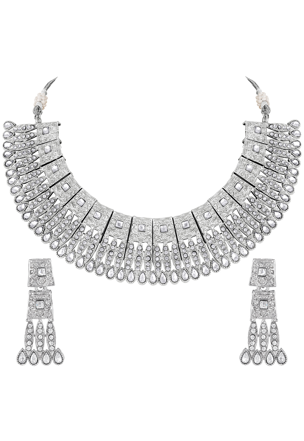 Silver Zinc Necklace Set With Earrings 191882