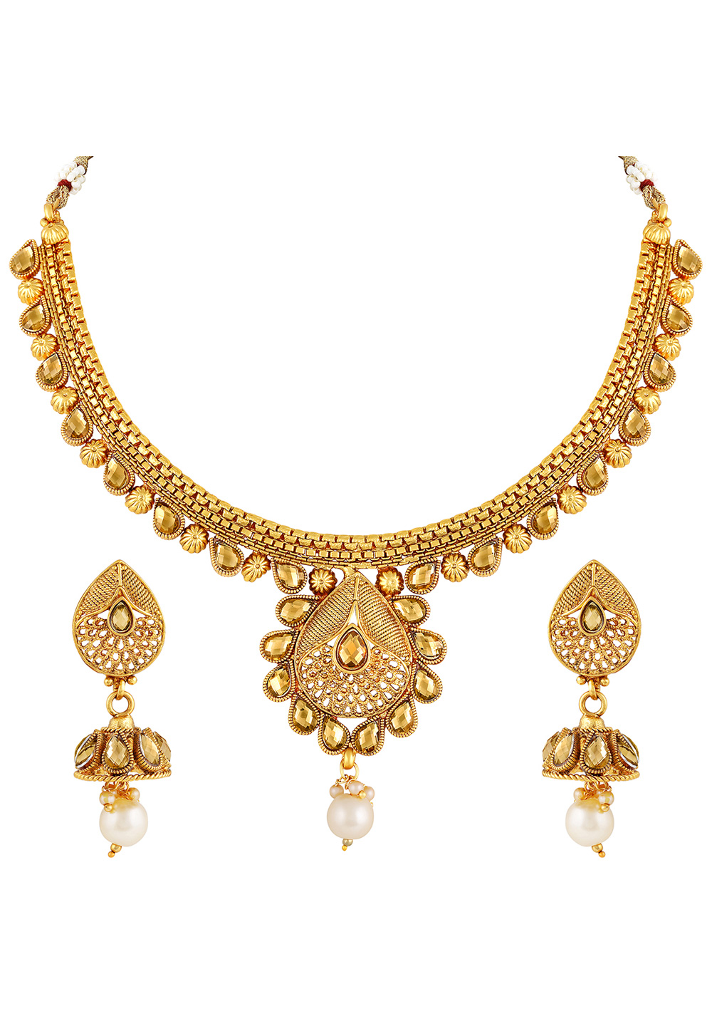 Golden Copper Necklace Set With Earrings 191883
