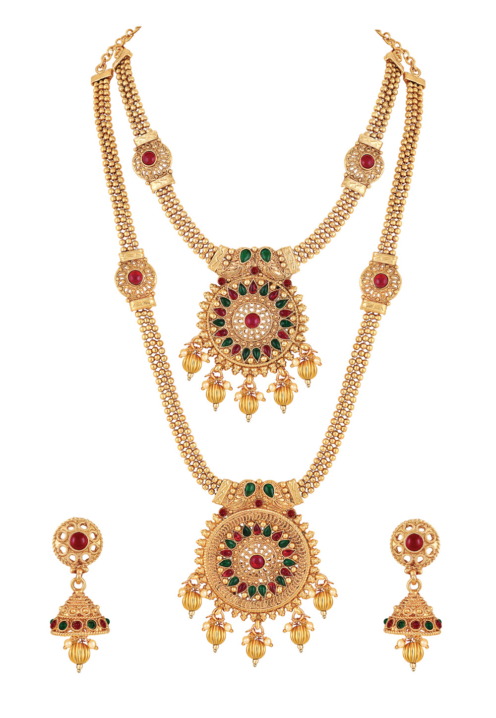 Golden Zinc Necklace Set With Earrings 191885