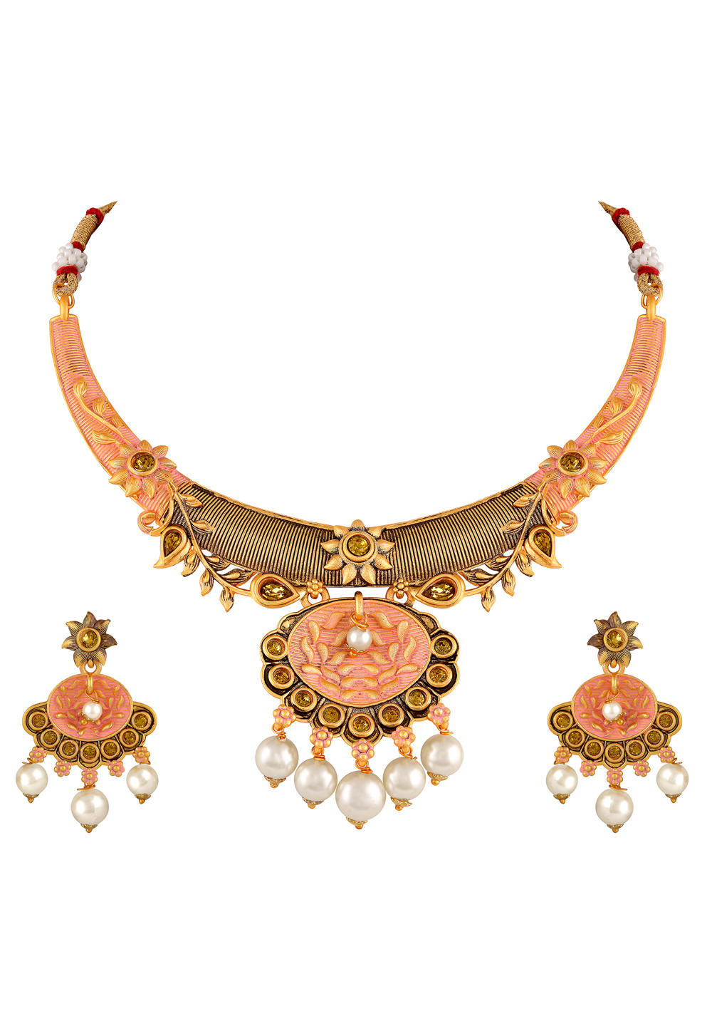 Peach Zinc Necklace Set With Earrings 191889