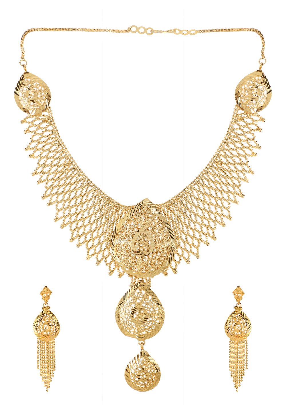 Golden Brass Necklace Set With Earrings 191897