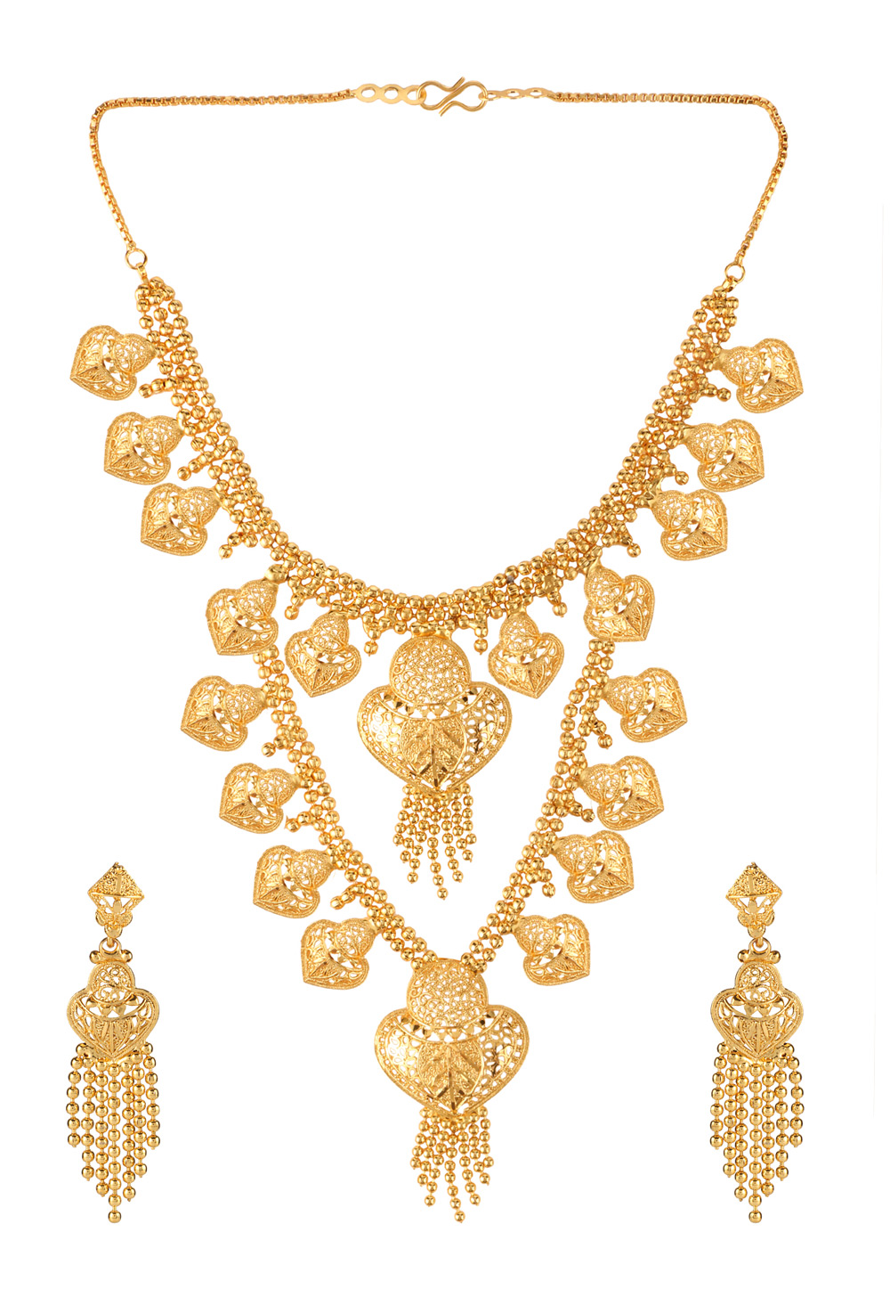 Golden Brass Necklace Set With Earrings 191898