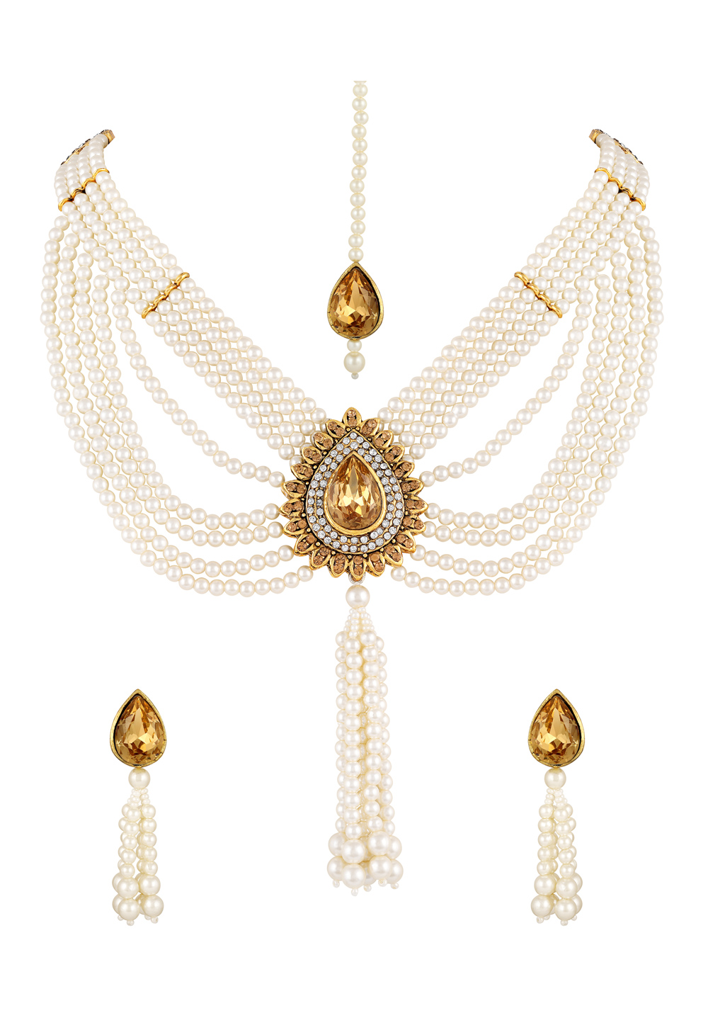 White Zinc Necklace Set With Earrings and Maang Tikka 191900