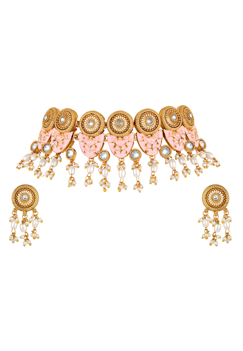 Pink Zinc Necklace Set With Earrings 191901