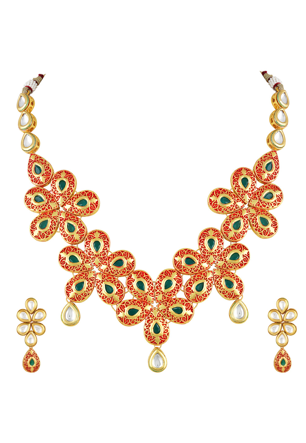 Red Zinc Necklace Set With Earrings 191902