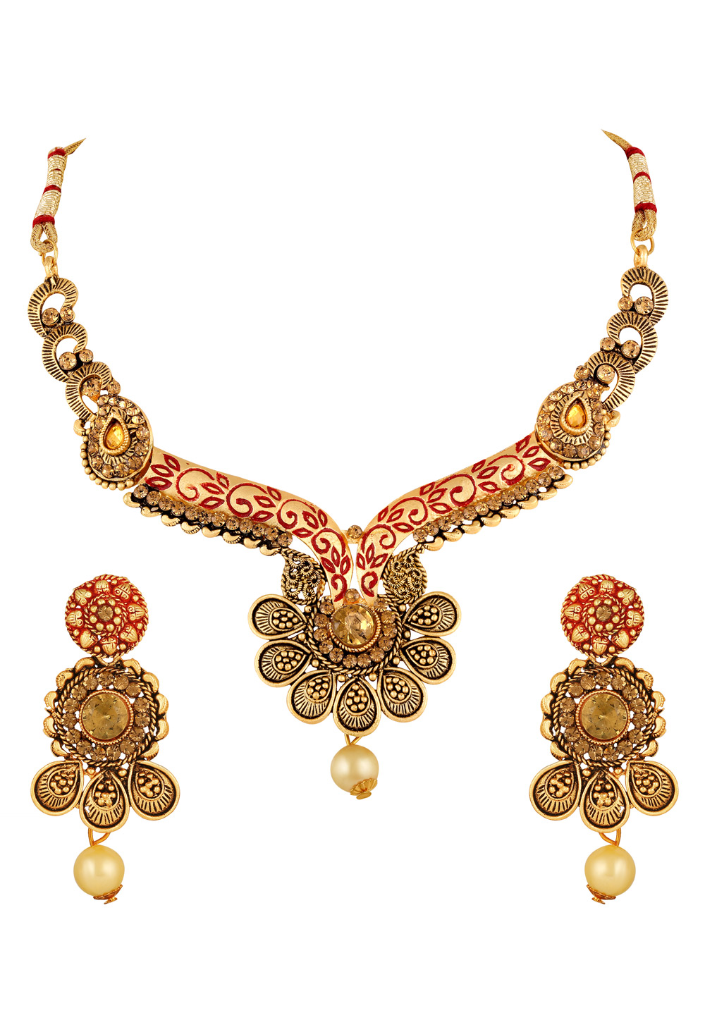 Golden Zinc Necklace Set With Earrings 191905