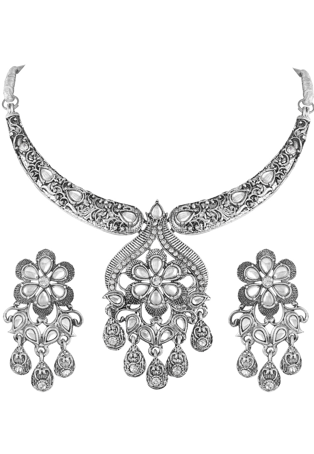 Silver Zinc Necklace Set With Earrings 191907