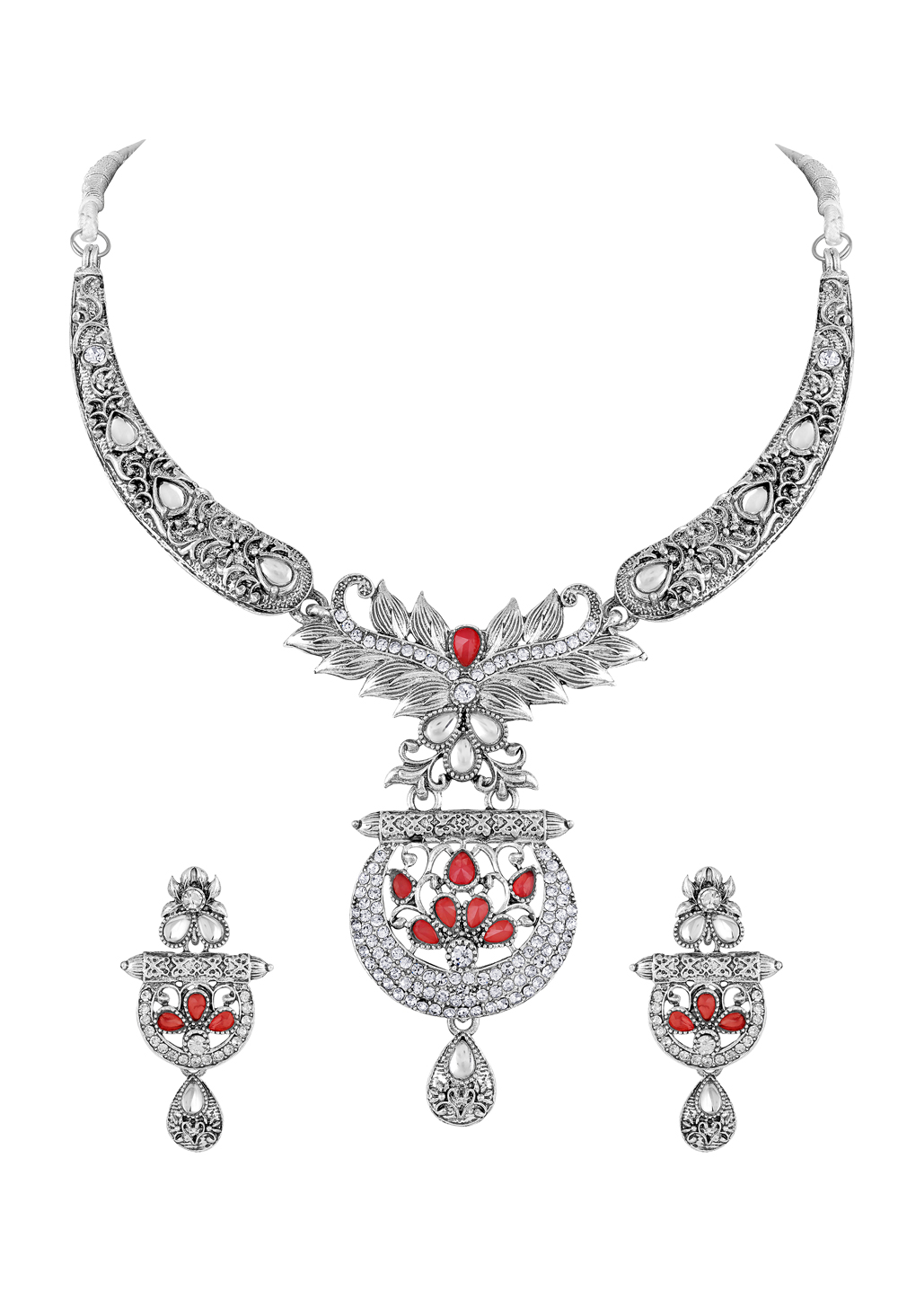 Silver Zinc Necklace Set With Earrings 191908