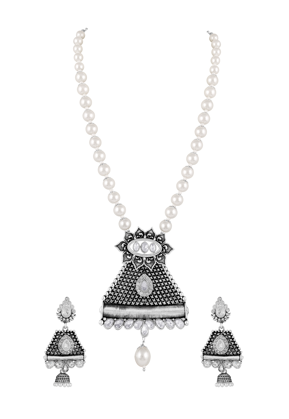 White Zinc Necklace Set With Earrings 191915