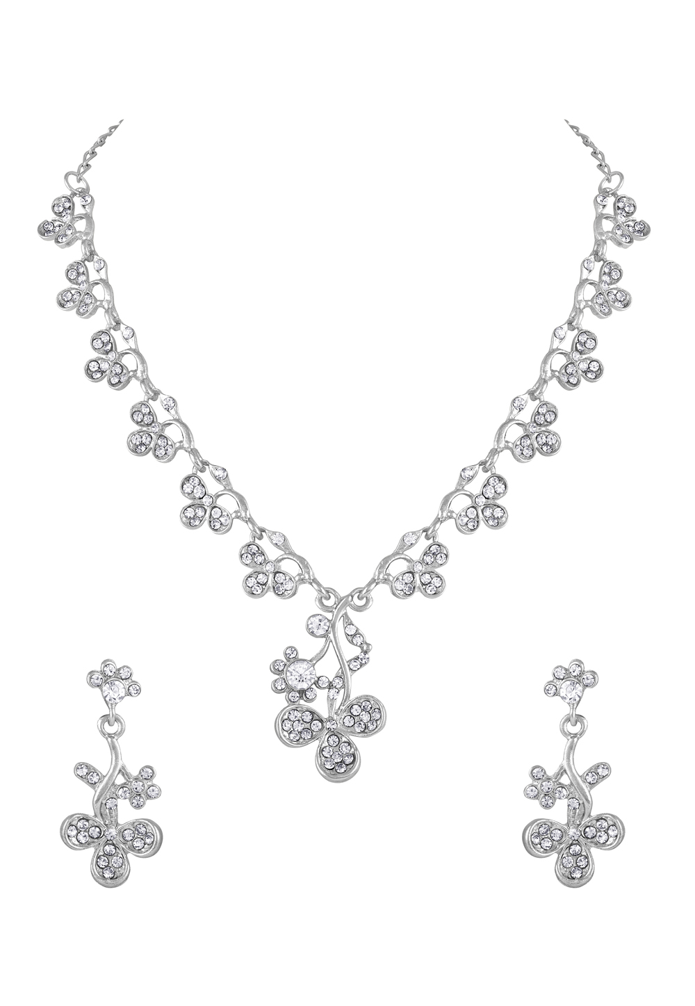 Silver Zinc Necklace Set With Earrings 191920