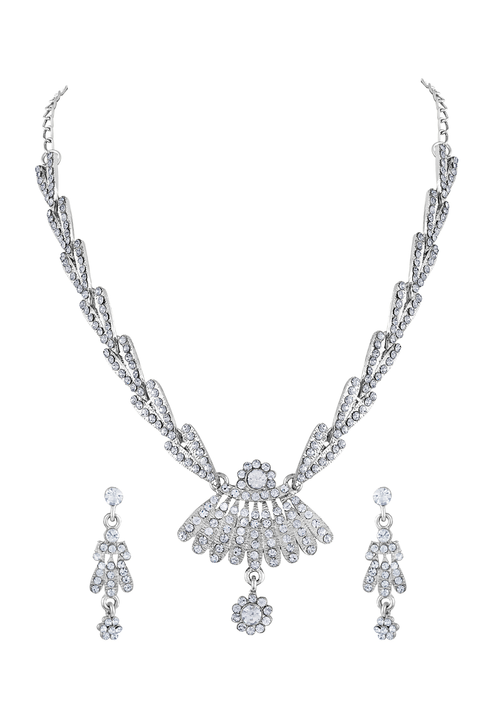 Silver Zinc Necklace Set With Earrings 191921