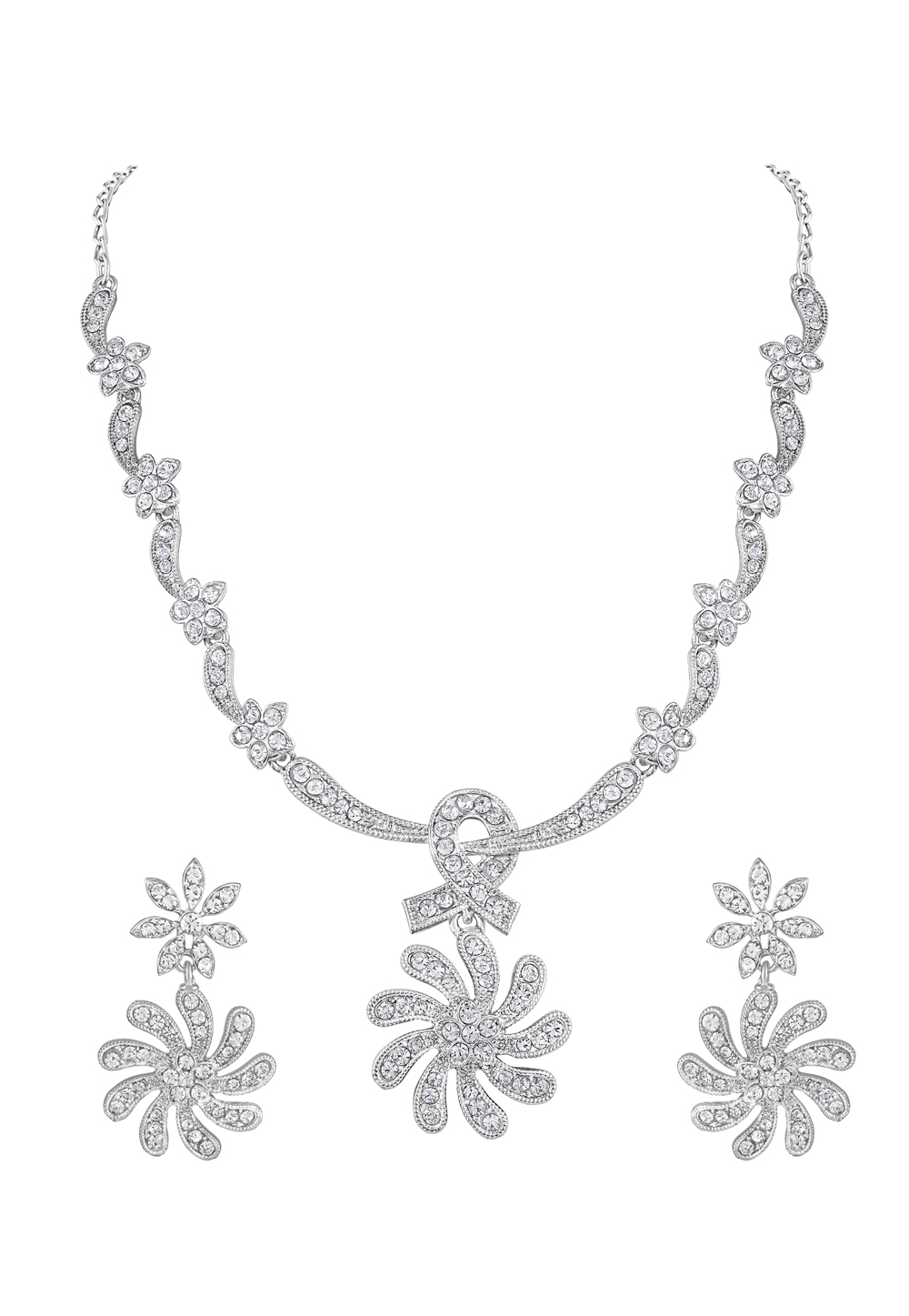 Silver Zinc Necklace Set With Earrings 191923