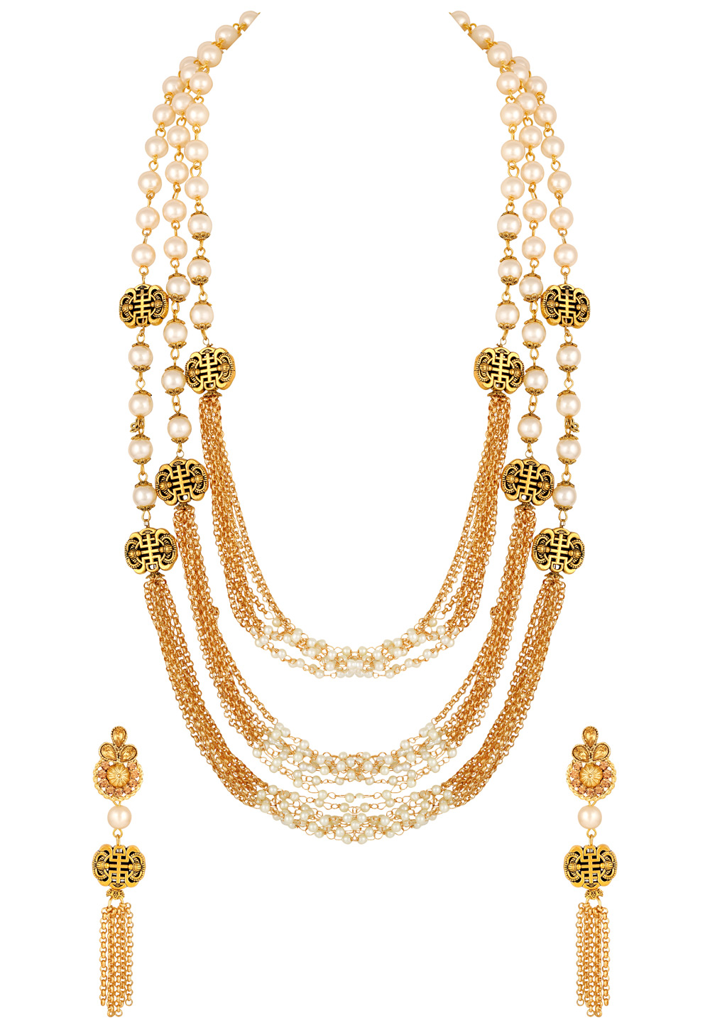 Golden Zinc Necklace Set With Earrings 191924