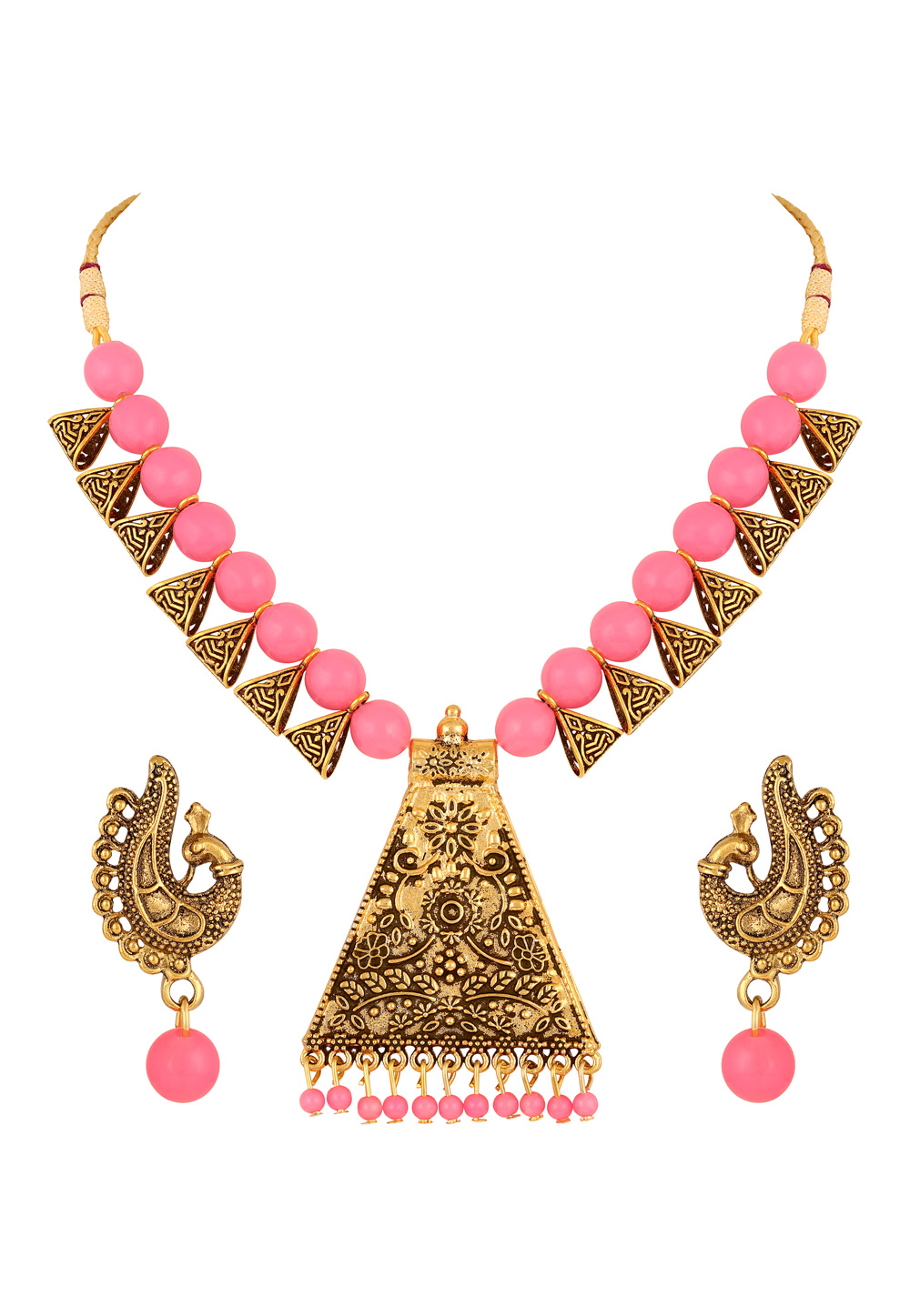 Pink Zinc Necklace Set With Earrings 191931