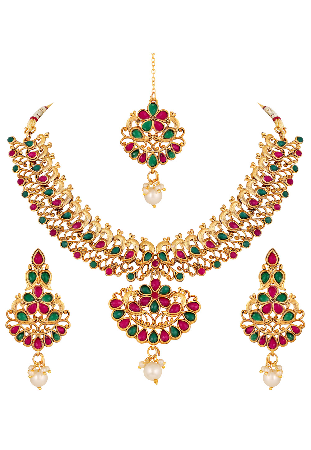 Pink Zinc Necklace Set With Earrings and Maang Tikka 191933