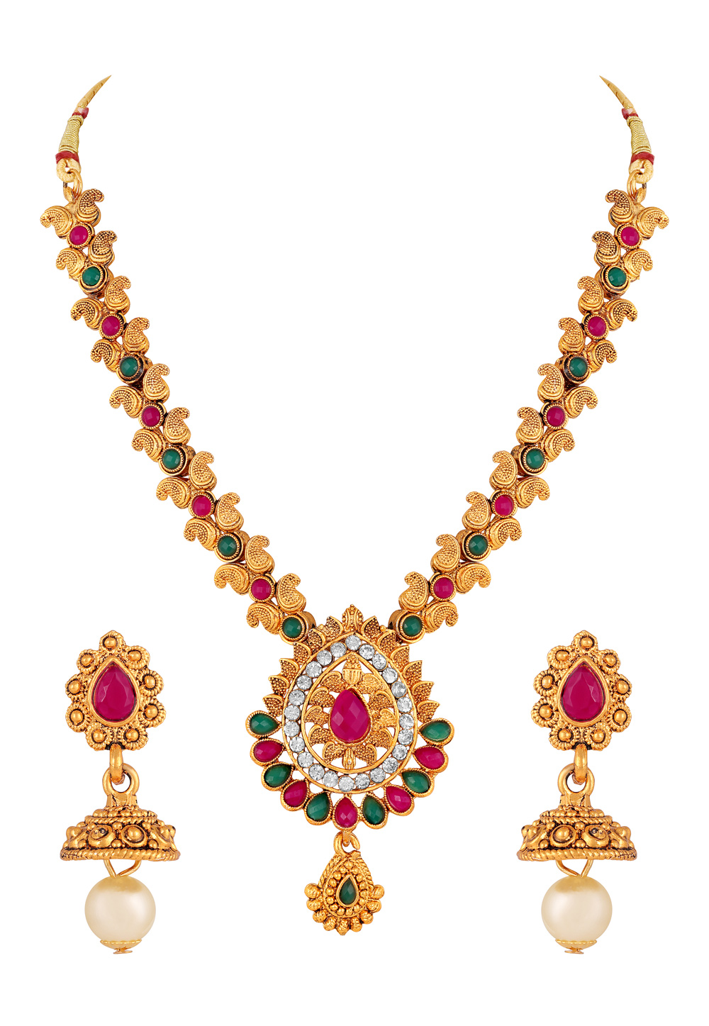 Pink Zinc Necklace Set With Earrings 191935