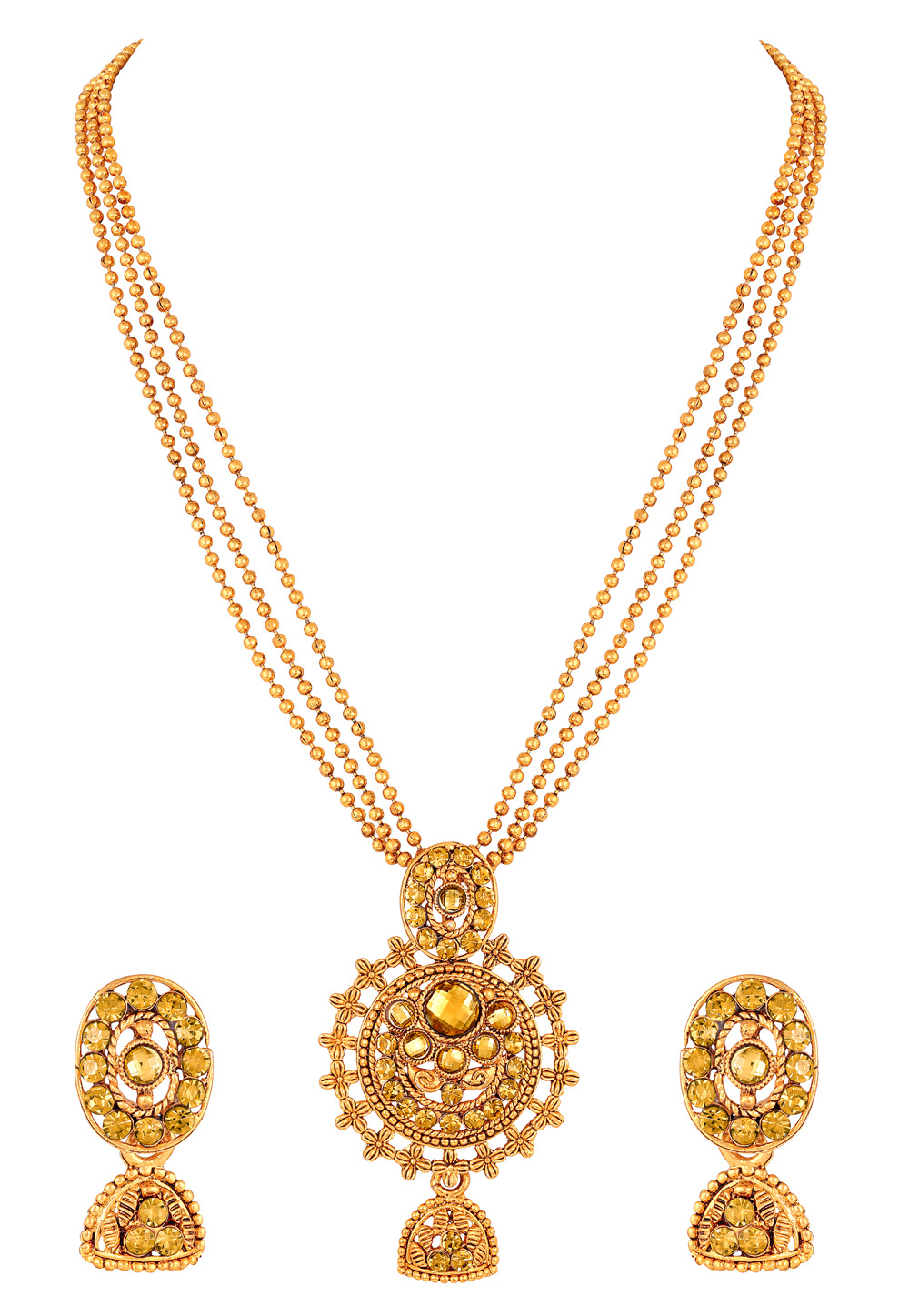 Golden Zinc Necklace Set With Earrings 191938