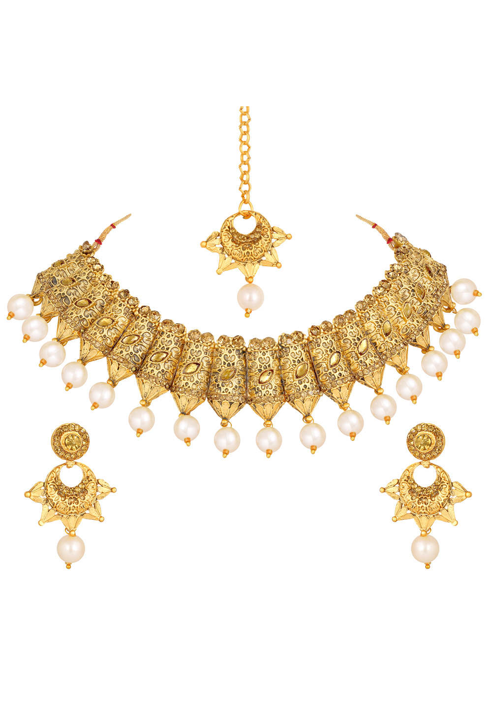 Golden Zinc Necklace Set With Earrings and Maang Tikka 191946