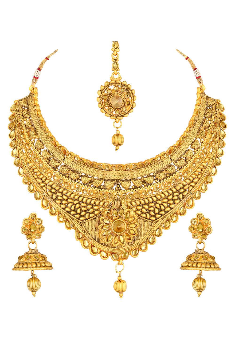 Golden Zinc Necklace Set With Earrings and Maang Tikka 191950