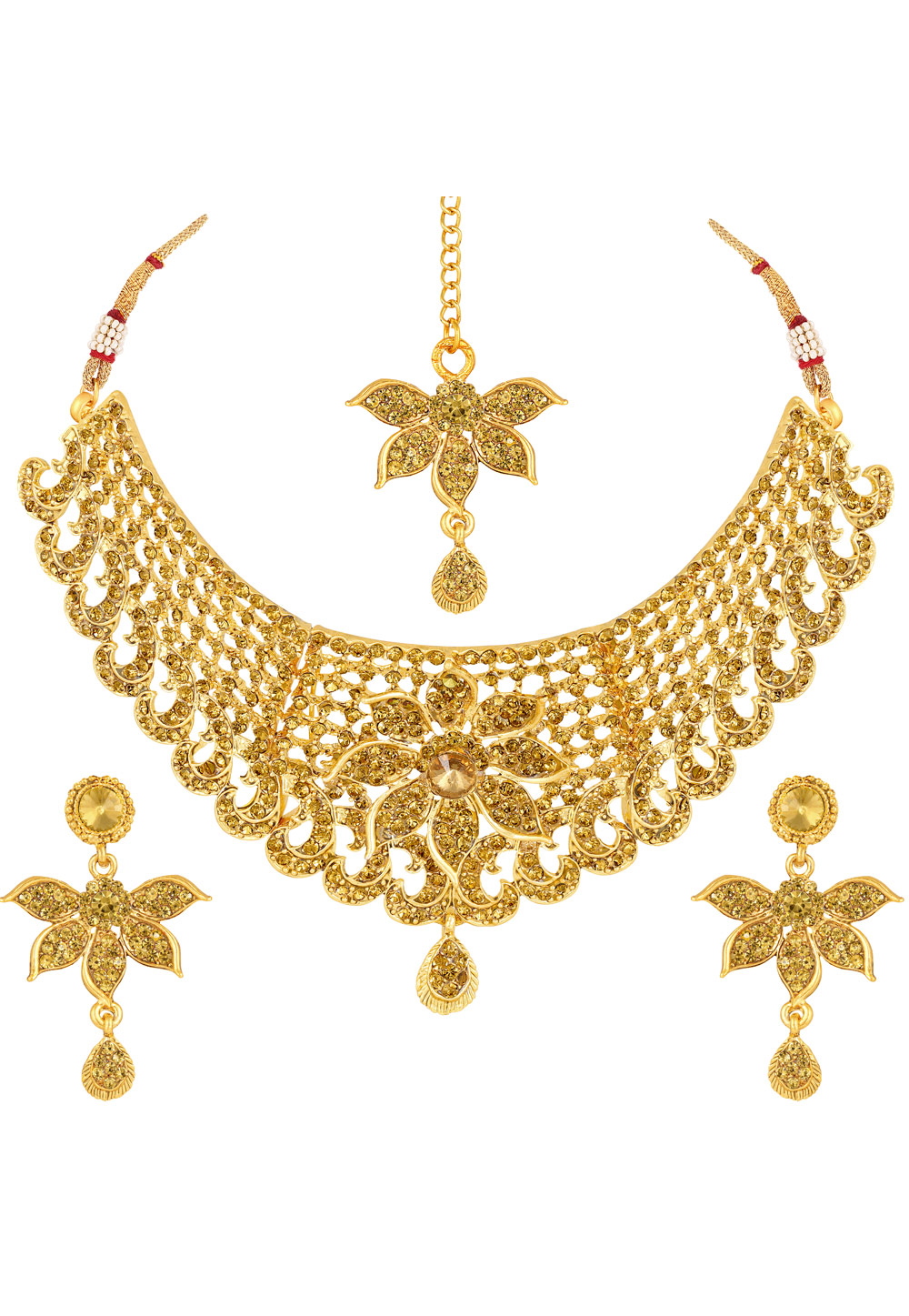 Golden Zinc Necklace Set With Earrings and Maang Tikka 191951