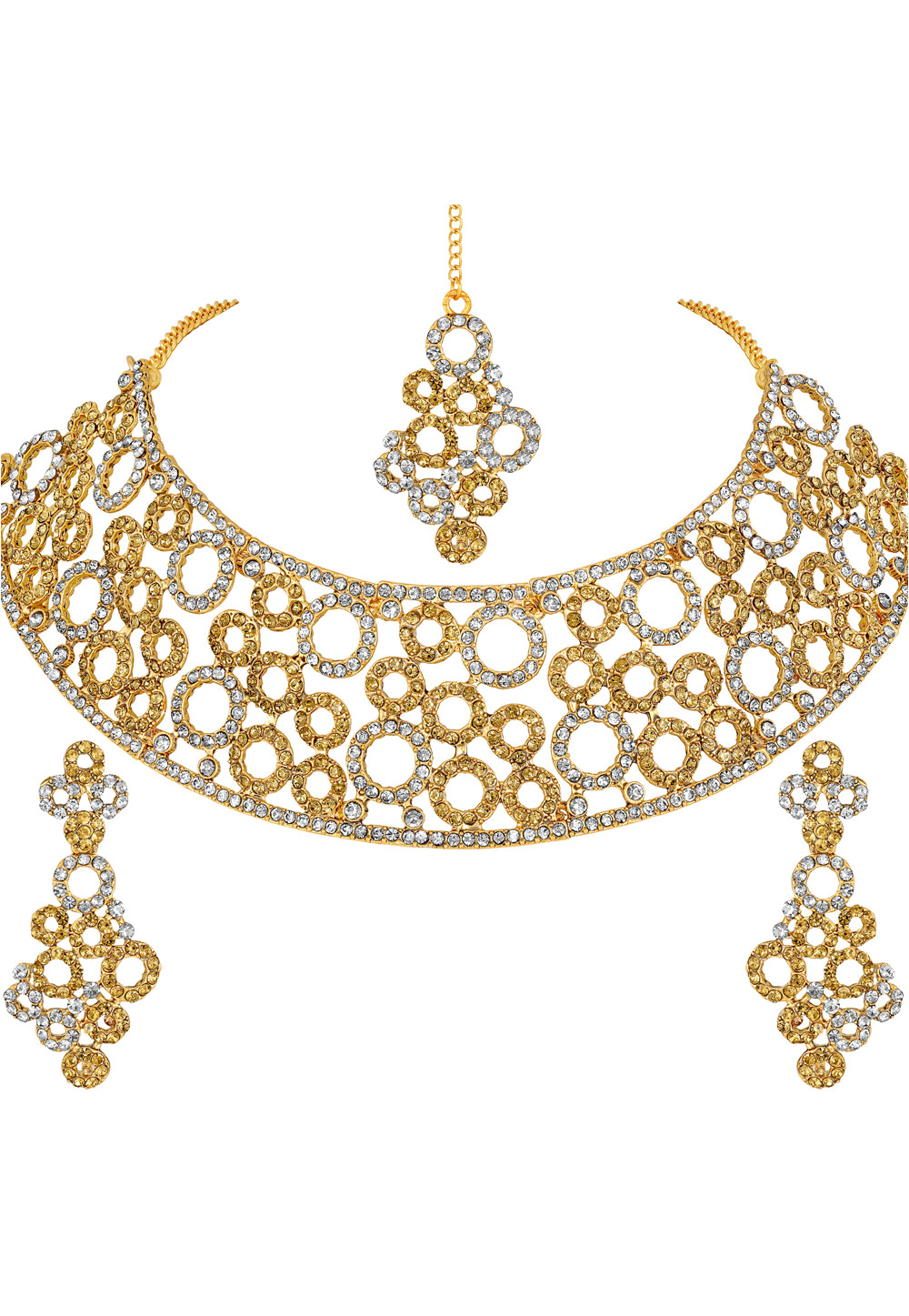 Golden Zinc Necklace Set With Earrings and Maang Tikka 191952