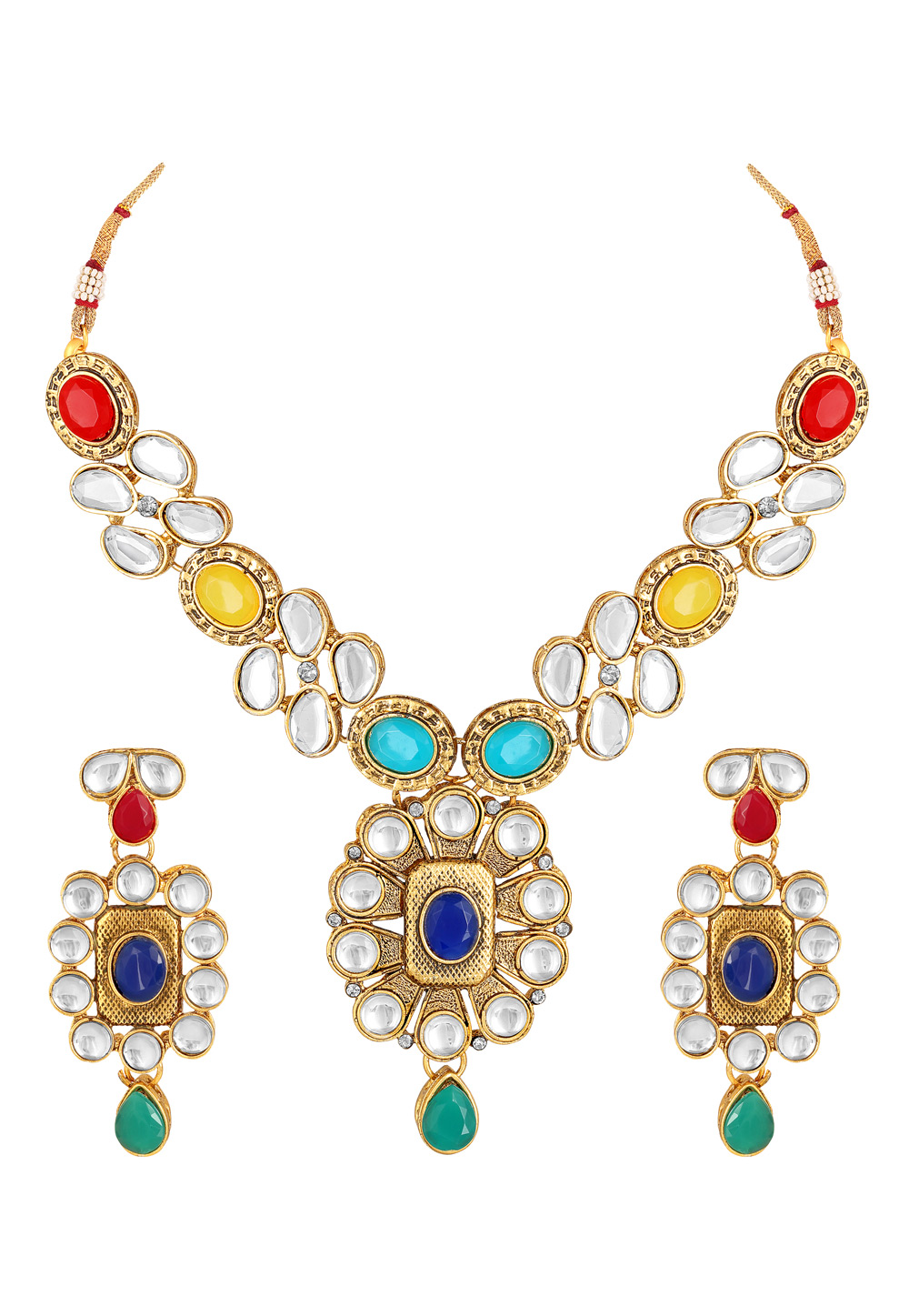 Blue Zinc Necklace Set With Earrings 191953