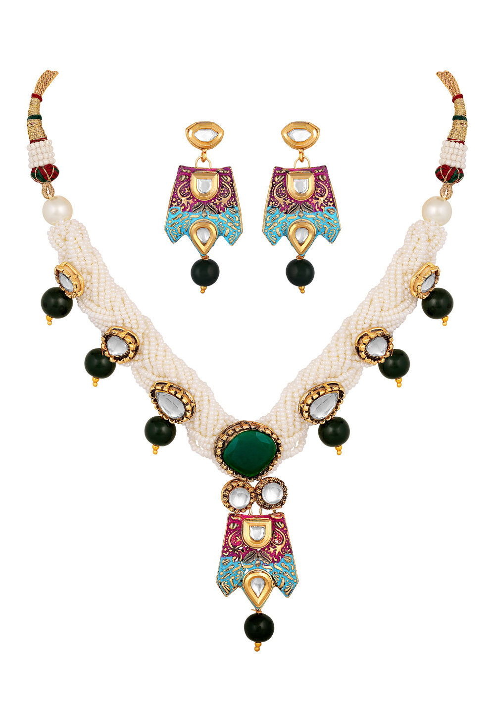 Green Brass Necklace Set With Earrings 191959