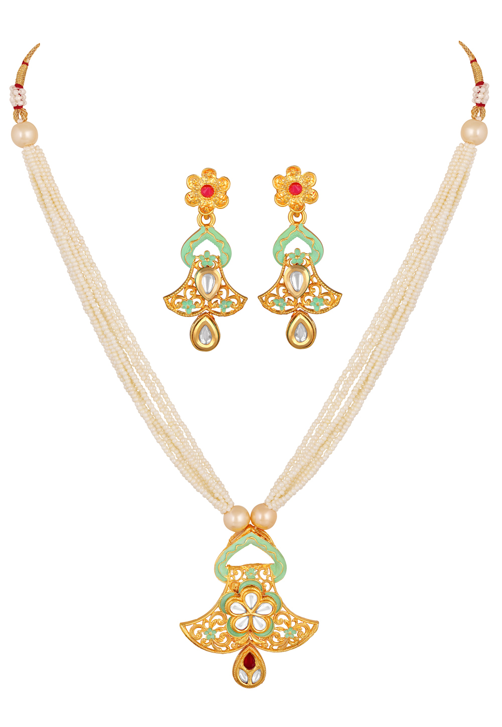 Green Brass Necklace Set With Earrings 191964