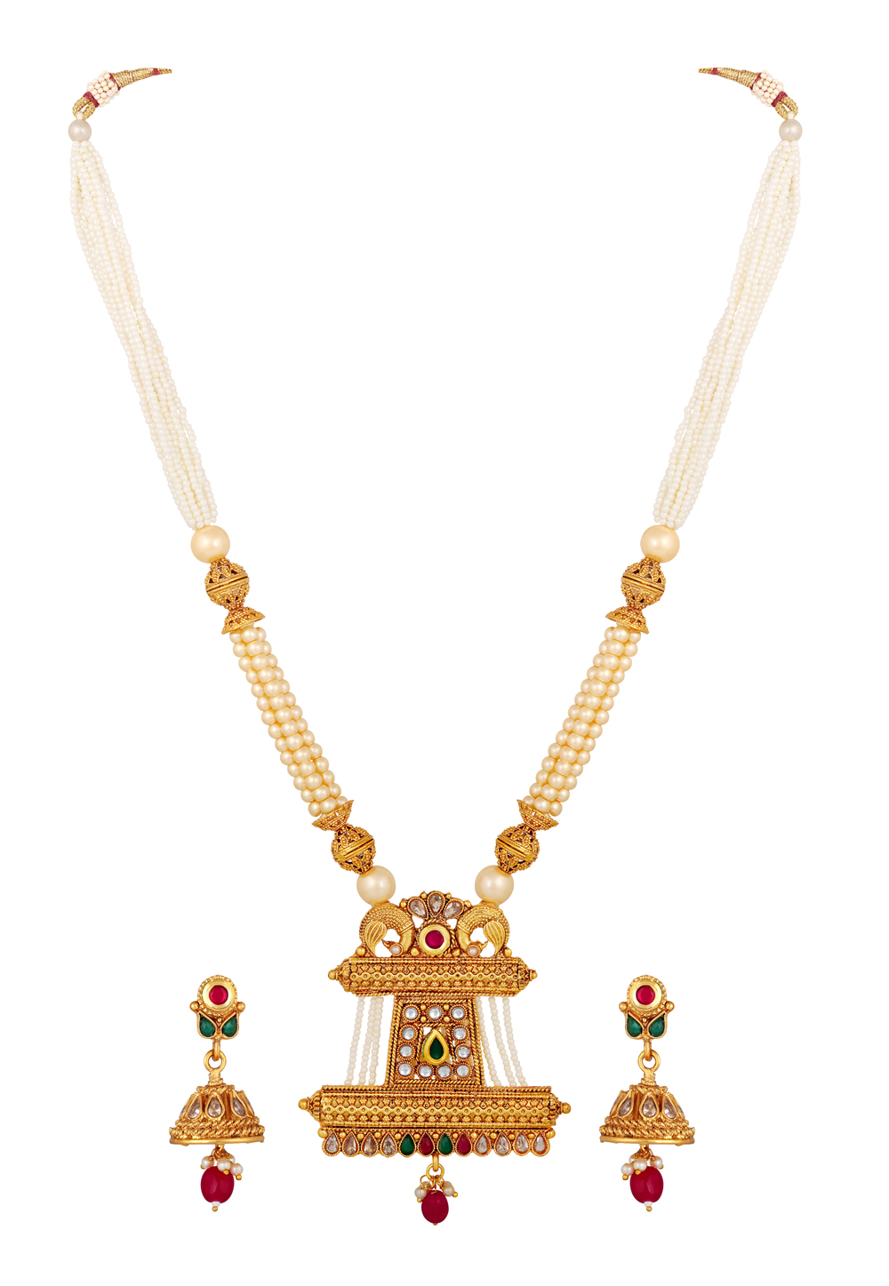 Golden Brass Necklace Set With Earrings 191968