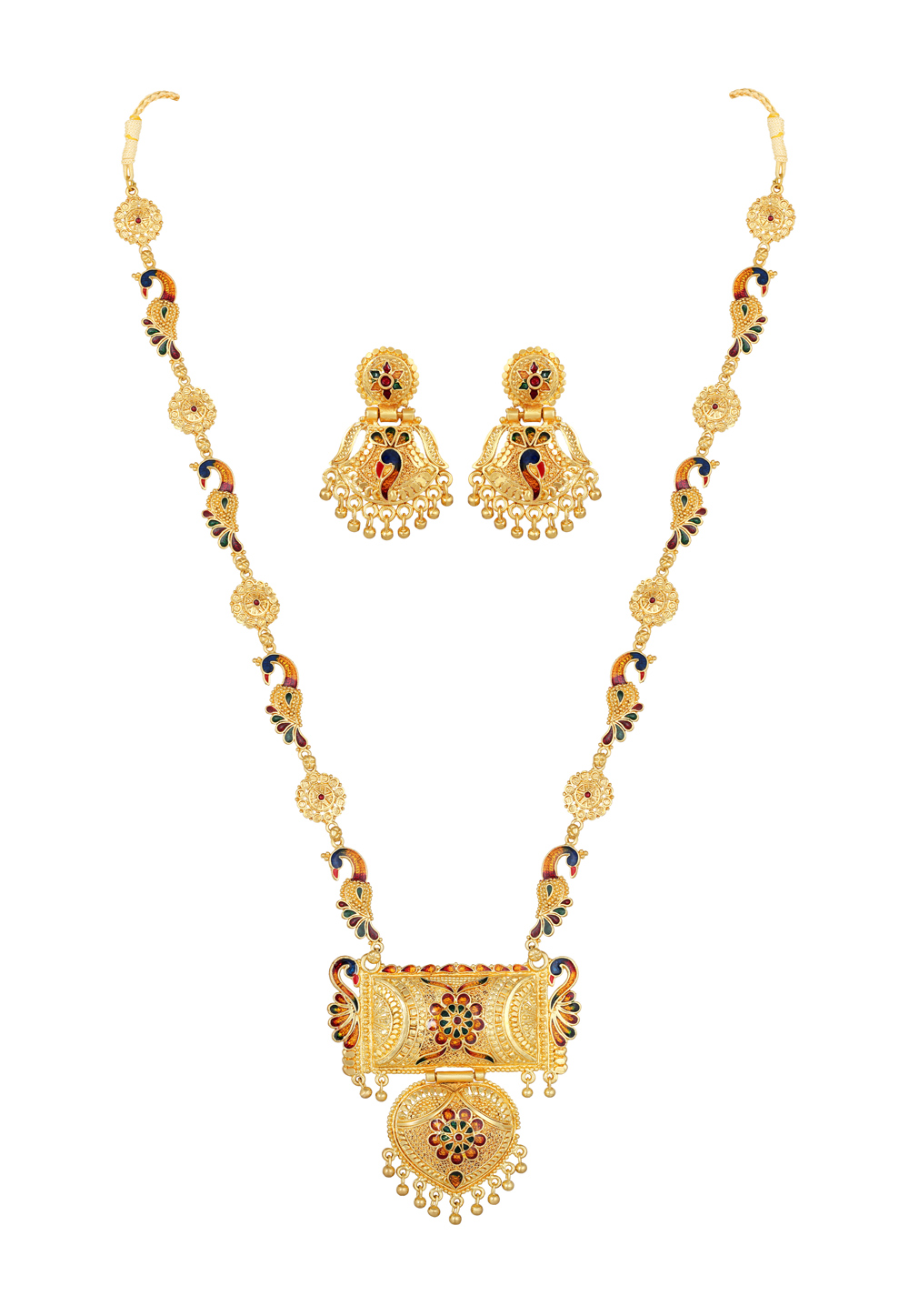Golden Alloy Necklace Set With Earrings 191979