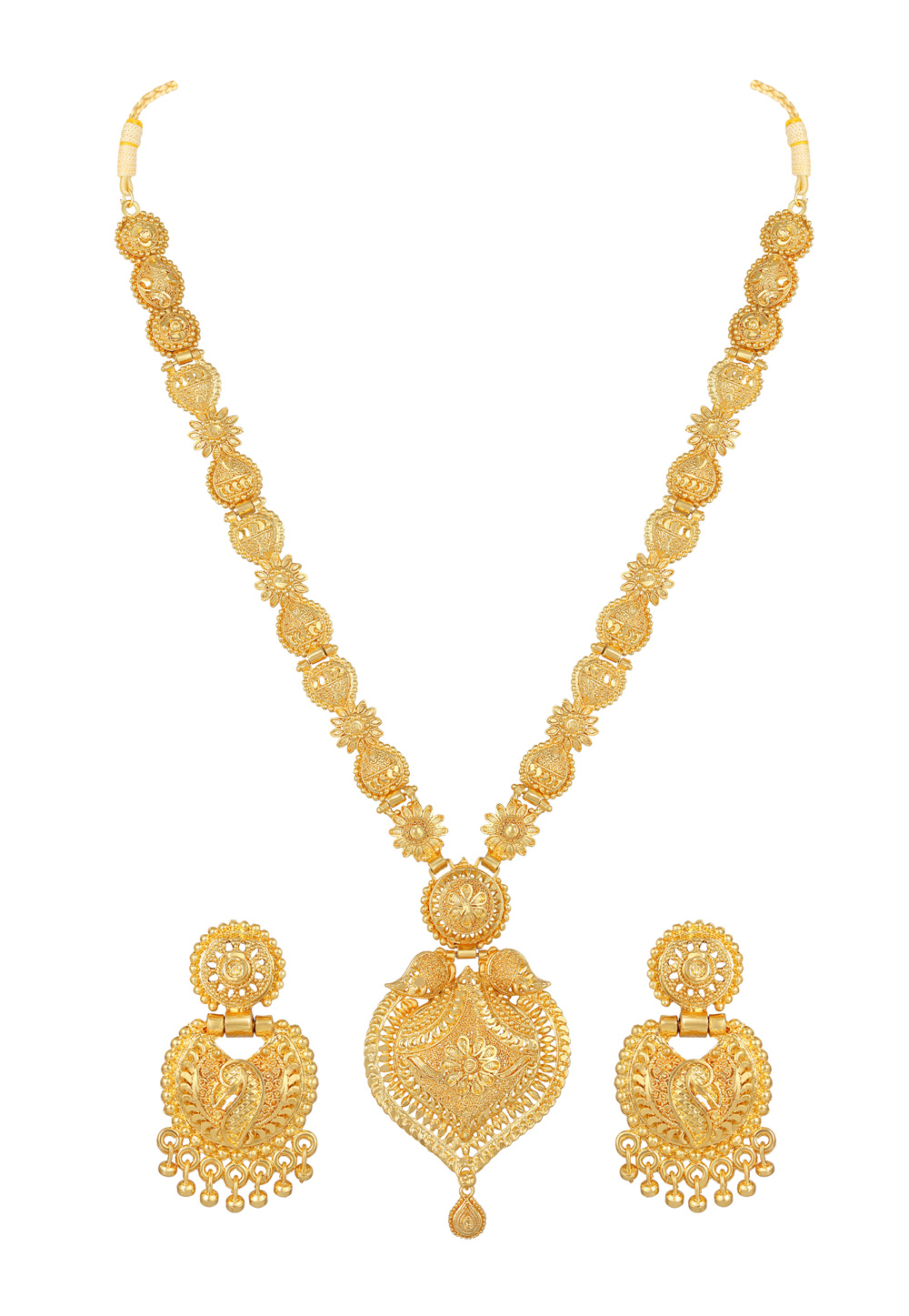 Golden Alloy Necklace Set With Earrings 191981