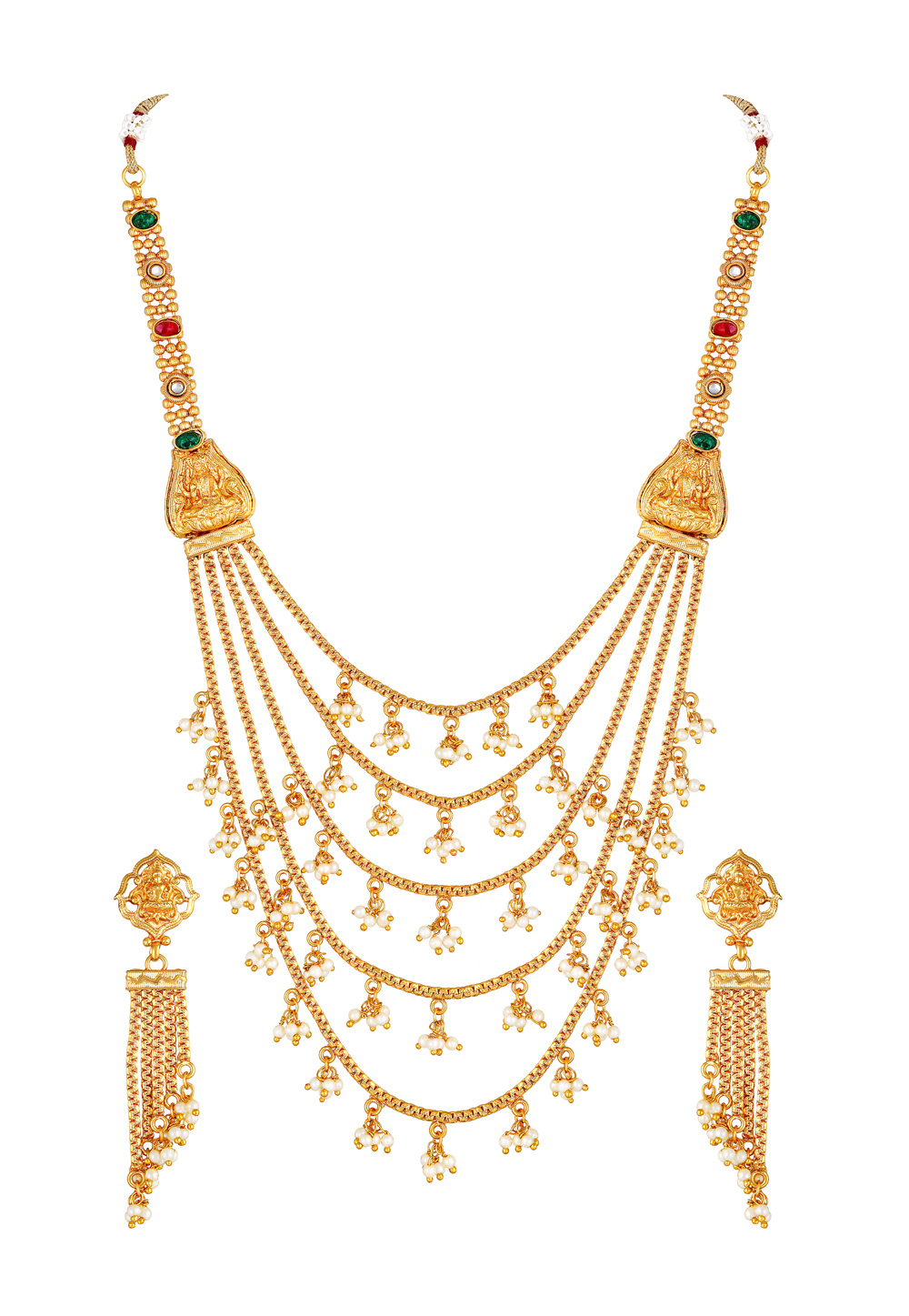 Golden Copper Necklace Set With Earrings 191987