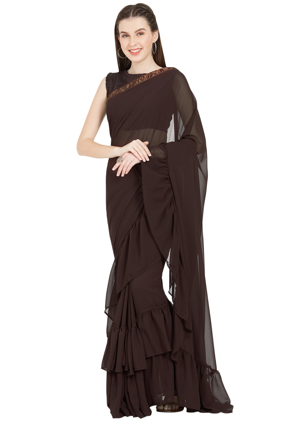 Brown Faux Georgette Saree With Blouse 157072