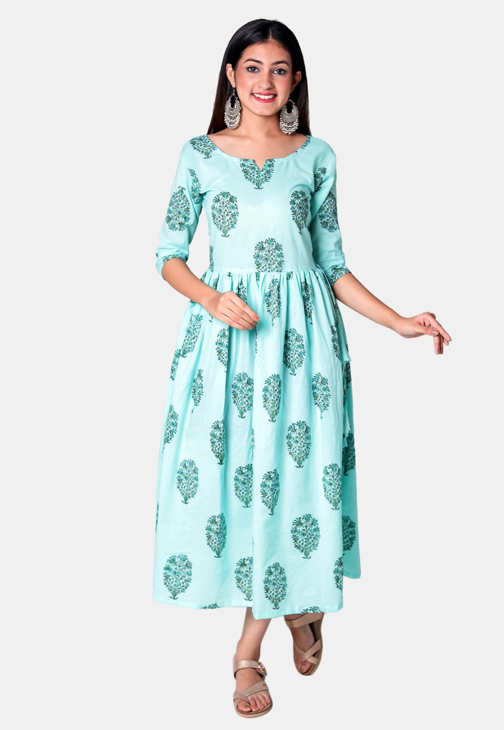 Sky Blue Cotton Readymade Printed Tunic 212949