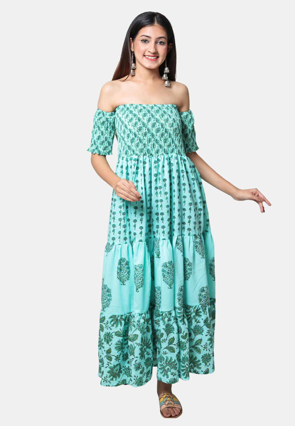 Turquoise Cotton Readymade Printed Tunic 212942