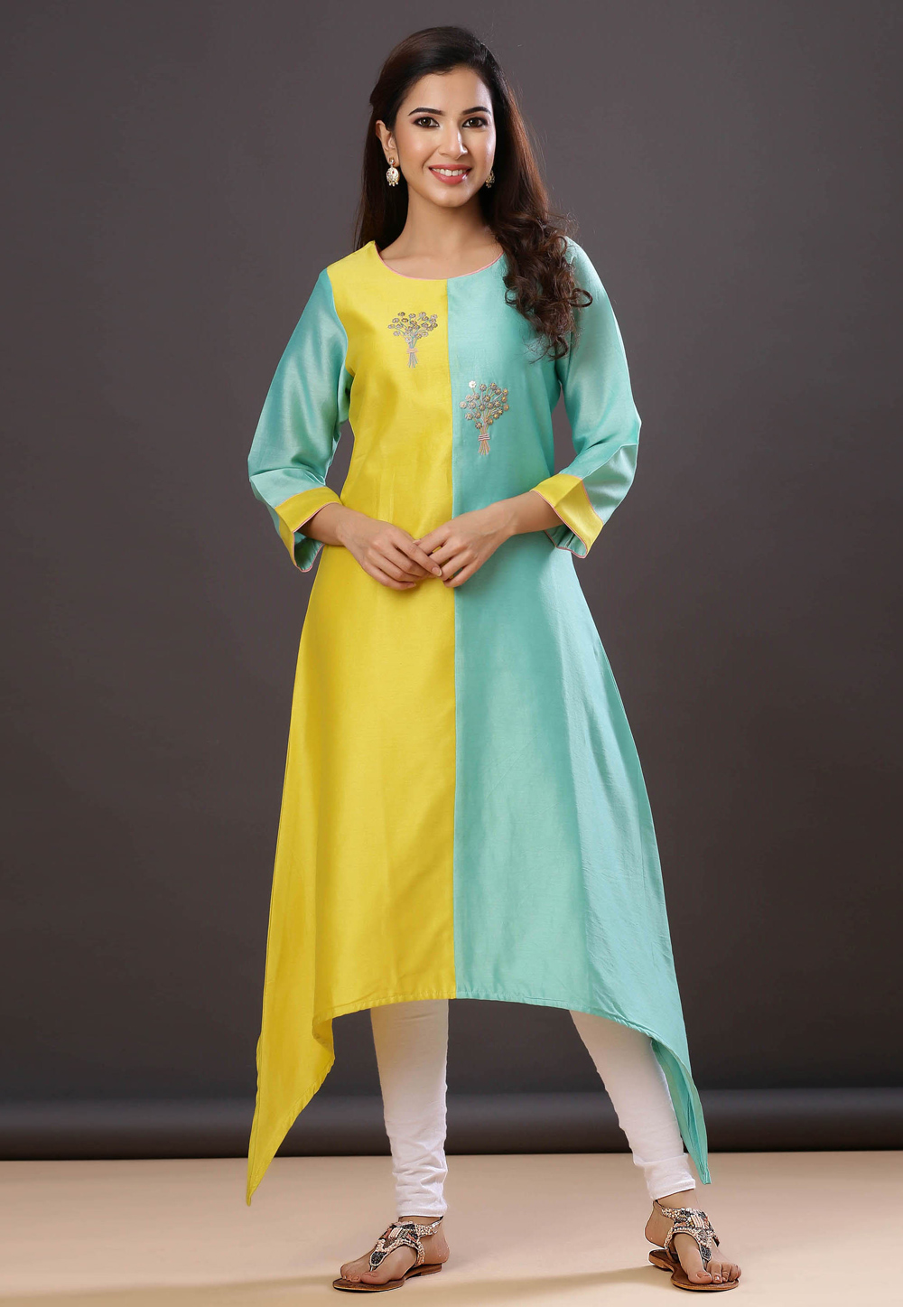 Yellow Chanderi Silk Readymade Kurti 212977