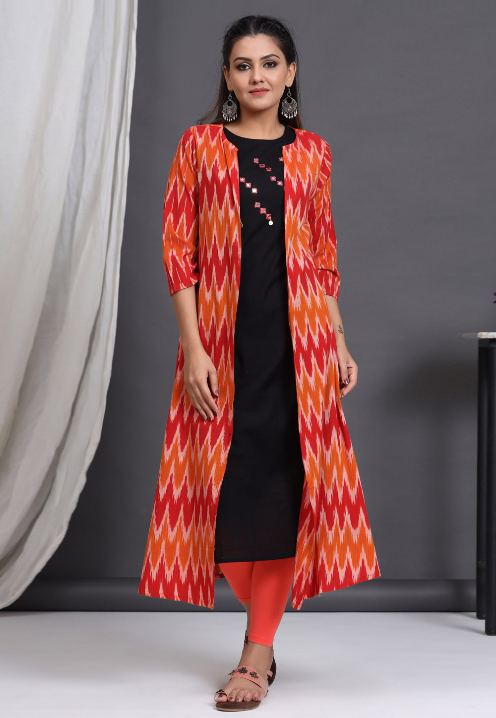 Black Cotton Readymade Tunic With Jacket 212990