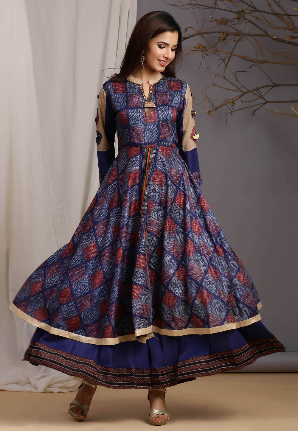 Blue Chanderi Readymade Gown 212971